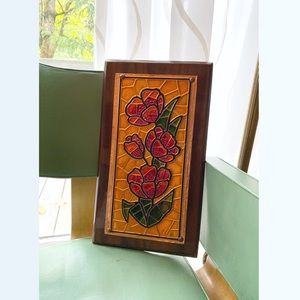 1960s vintage faux stained glass wood floral sign